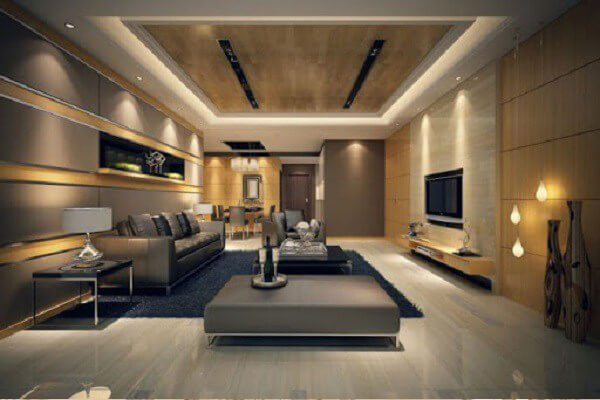 Phòng khách với phong cách thiết kế hiện đại