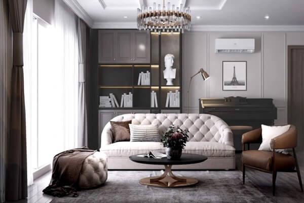 Phòng khách mang phong cách nhẹ nhàng nhưng sang trọng