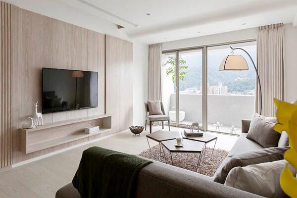 Phòng khách với thiết kế tối giản
